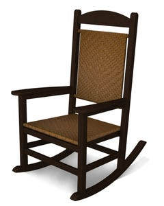 POLYWOOD Presidential Woven Rocking Chair with Mahogany Frame and Tigerwood Loom