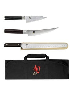 Shun Classic Four Piece BBQ Knife Set with Knife Roll