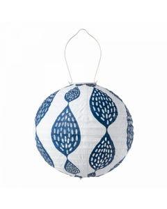 """Allsop Soji 12"""" Round Solar Lantern with Indigo Leaf Print"""
