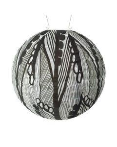 "Allsop Soji 12"" Round Solar Lantern with Black and White Seed Leaf Print"