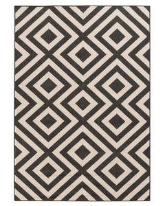 Surya Outdoor Rug, Geometric Black/Cream