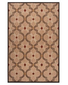 Surya Outdoor Rug, Brown Rug with White Circles and Red Dots