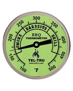 """Tel-Tru BQ500 5"""" Glow Dial BBQ Thermometer, 4"""" Stem"""
