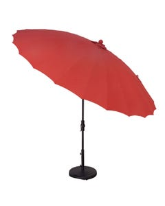 Treasure Garden 10' Shanghai Collar Tilt Umbrella with Black  Frame and Cha Cha Pomegranate Fabric