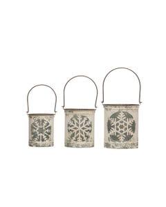 Metal Snowflake Cutout Lanterns