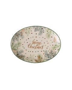Merry Christmas Oval Stoneware Platter with Pine Foliage