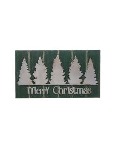 Green Merry Christmas Wood Wall Decor with Metal Trees