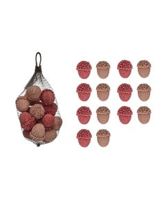 Faux Acorns Vase Filler or Table Decor in Pink & Raspberry Red Blush