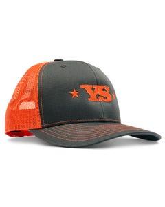 Yoder Smokers Trucker Hat, Charcoal/Orange