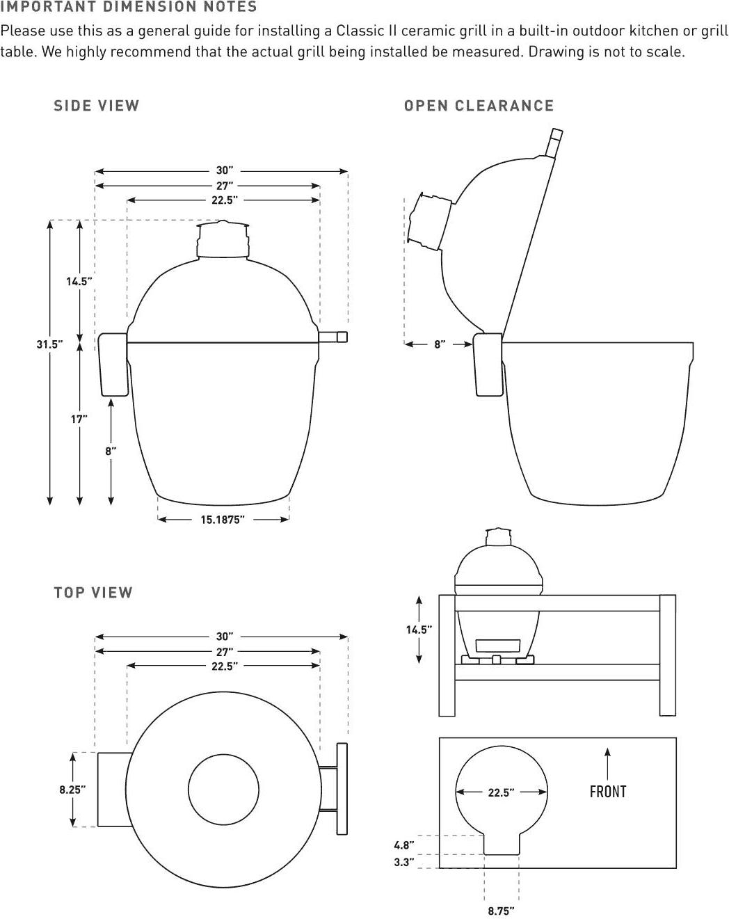 Kamado Joe Classic II Ceramic Grill Specifications
