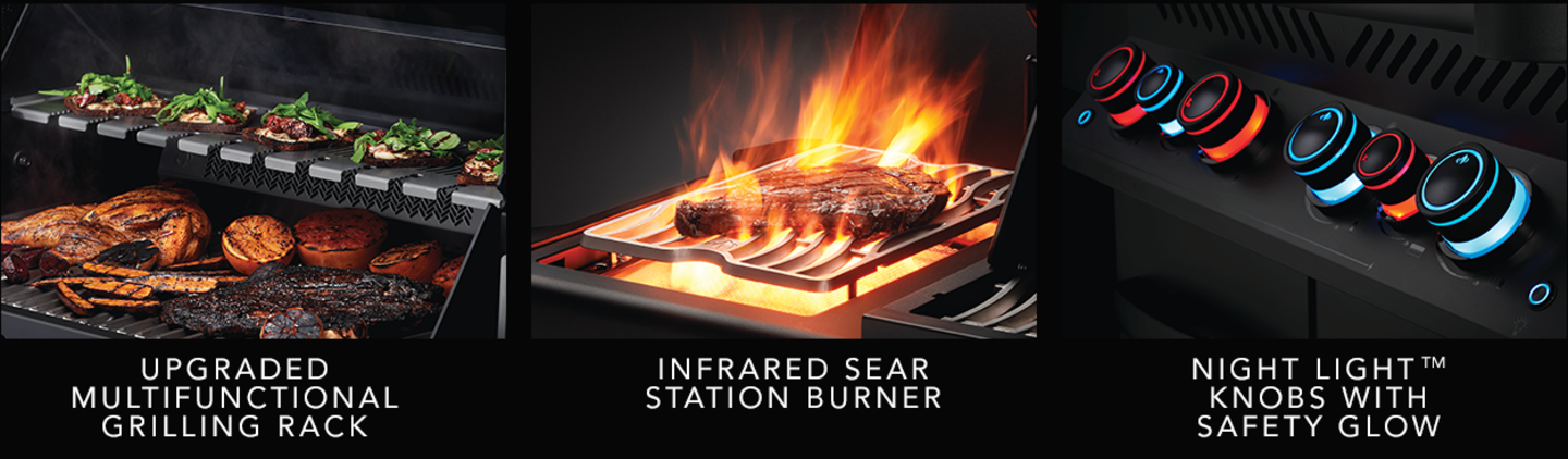 Upgraded Multifunctional Grilling Rack - Infrared Sear Station Burner - NIGHT LIGHT Knobs with Safety Glow