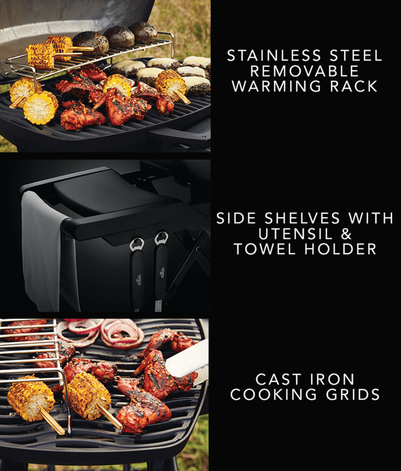 Stainless Steel Removable Warming Rack - Cast Iron Cooking Grids - Side shelves with utensil & towel holder