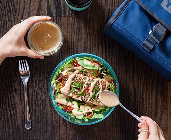 Grilled Salmon Salad with Magic Tahini Dressing
