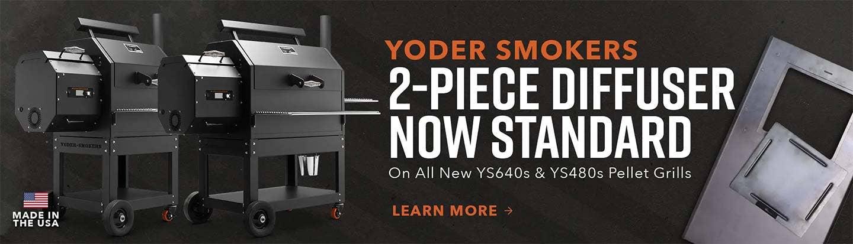 2-Piece Diffuser now standard on Yoder Pellet Grills