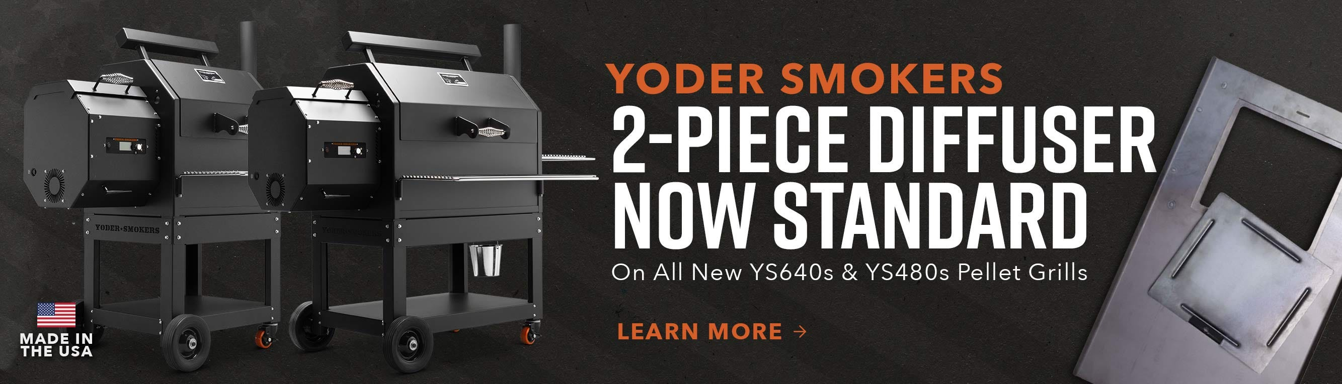 2-Piece Diffuser now standard on Yoder Pellet Grills