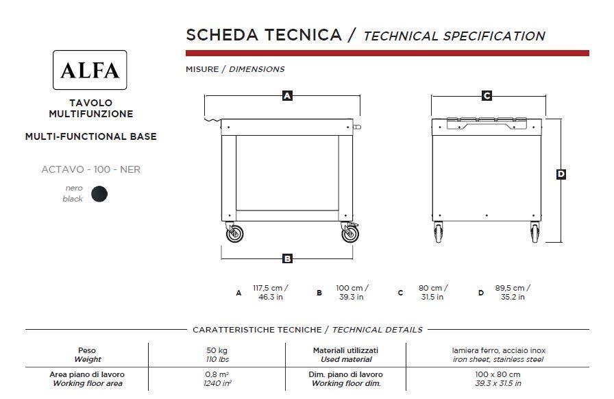 "Alfa 39"" Wide Multi-Functional Pizza Oven Base"