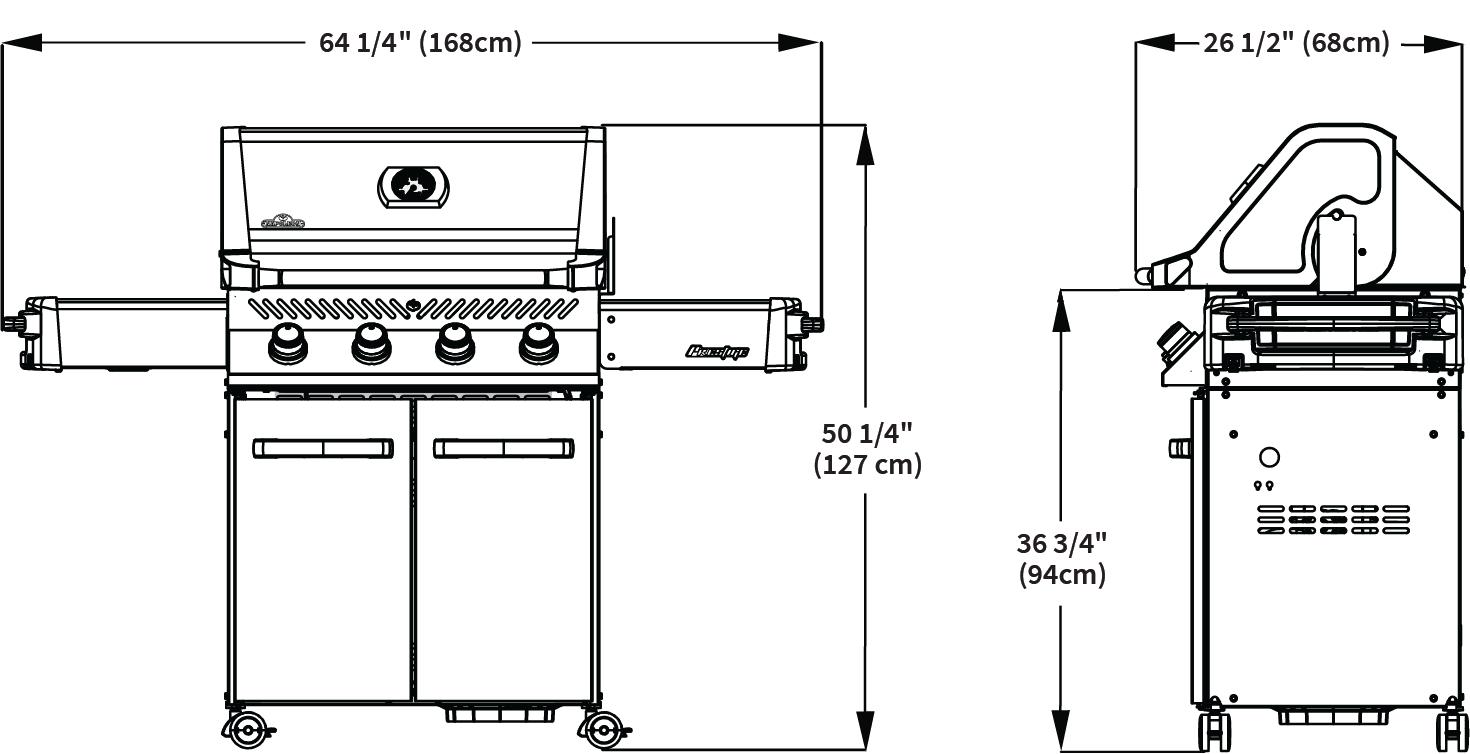 Napoleon Grills Prestige 500 P500-2 Gas Grill Dimensions